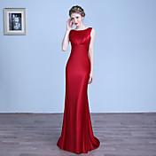 シース/コラムジュエルネックフロアレングスサテンフォーマルイブニングドレス