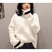 Mujer Largo Pullover Casual/Diario Simple,Un Color Azul Blanco Beige Cuello Alto Manga Larga Algodón Otoño Invierno Medio Microelástico