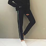 Mujer Pantalones Harén Chinos Pantalones,A Rayas Casual/Diario Sencillo Tiro Medio Cremallera Algodón Micro-elástica Otoño / Invierno
