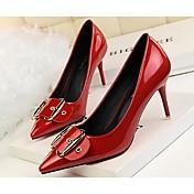 Mujer-Tacón StilettoTacones-Informal-Cuero de Cerdo-Beige Gris Morado Rojo Borgoña