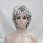 Mujer Pelucas sintéticas Sin Tapa Corto Ondulado Gris Pelo reflectante/balayage Corte a capas Corte Pixie Con flequillo Peluca natural