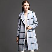 女性 カジュアル/普段着 冬 ストライプ コート,シンプル ノッチドラペル ブルー ポリエステル 長袖 厚手
