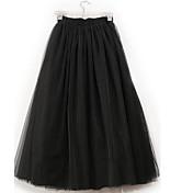 A-linje Nederdele-Dame Ensfarvet Tyl-Sød Alm. taljede I-byen-tøj Midi Elasticitet Polyester / Spandex Mikroelastisk Efterår
