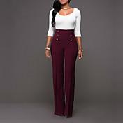 Mujer Corte Recto Chinos Pantalones,Un Color Casual/Diario Sencillo Tiro Alto Elasticidad Poliéster Micro-elástica All Seasons