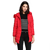 Abrigo Regular Acolchado Mujer Simple Casual/Diario / Tallas Grandes,Un Color Poliéster Polipropileno Manga Larga,Azul / Rosa / Rojo /