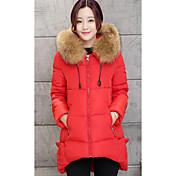 Abrigo Regular Acolchado Mujer Simple Casual/Diario / Tallas Grandes,Un Color Poliéster Polipropileno Sin Mangas,Rojo / Gris