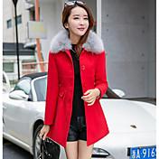 女性 カジュアル/普段着 冬 ソリッド コート,シンプル ピンク / レッド アクリル 長袖 厚手
