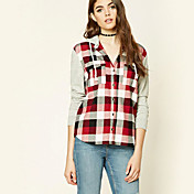 Mujer Simple Casual/Diario Primavera Otoño Camiseta,Con Capucha Estampado Manga Larga Algodón Medio