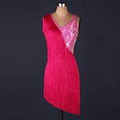 Debemos vestidos de danza latinos mujeres organza de rendimiento vestido de rebordear