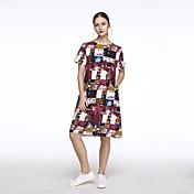 婦人向け シンプル / ストリートファッション ルーズ / シフト ドレス,プリント ミディ ラウンドネック コットン / リネン