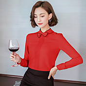 符号2016秋の新しい韓国の女性はブラウスシフォンシャツスリム底入れシャツの弓
