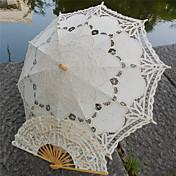 Bryllup / Strand Bomuld Paraply 26 tommer (ca. 66cm) Træ 30.7 tommer (ca. 78cm)
