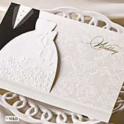 Plegado Invitaciones De Boda 50-Tarjetas de invitación Estilo de Novia y Novio Papel de tarjeta Kits
