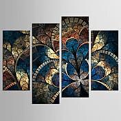 Abstrato Floral/Botânico Clássico Estilo Europeu,4 Painéis Tela Qualquer Forma Impressão artística Decoração de Parede For Decoração para