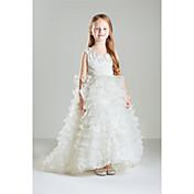 姫の床の長さ花の女の子のドレス - ビーズとコットンノースリーブの宝石の首