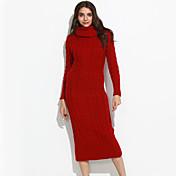 Mujer Largo Vestido Casual/Diario Simple,Un Color Rojo Cuello Alto Manga Larga Algodón Otoño Invierno Medio Microelástico