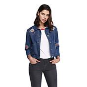 女性 お出かけ カジュアル/普段着 刺しゅう デニムジャケット,活発的 ブルー その他 長袖