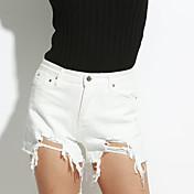 De las mujeres Pantalones Cortos-Simple Microelástico-Algodón