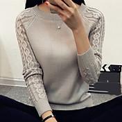 Žene Jednostavno Ležerno/za svaki dan Rad Kratka Pullover,Bijela Crna Smeđa Siva Jednobojni Okrugli izrez Dugih rukava Pamuk Proljeće