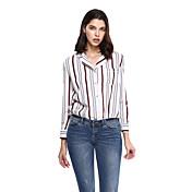 女性 フォーマル プラスサイズ シャツ,モダンシティ ノッチドラペル ストライプ ピンク コットン ポリエステル 長袖