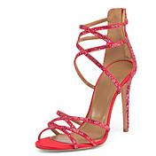 Mujer-Tacón StilettoSandalias-Oficina y Trabajo Vestido Informal Fiesta y Noche-Vellón-Rojo
