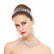 Cristal Cristal Brillante Blanco 1 Collar 1 Par de Pendientes Joyería de Pelo Para Boda Fiesta Ocasión especial 1 par Regalos de boda