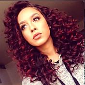 Mujer Pelucas sintéticas Encaje Frontal Medio Rizado rizado Rojo Entradas Naturales Raíces oscuras Raya en medio Peluca natural Peluca de