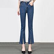 Žene Klasične hlače Traperice Hlače,S izrezom Ulični šik Ležerno/za svaki dan Jednobojni Visoki struk Patent-zatvarač Gumb Pamuk