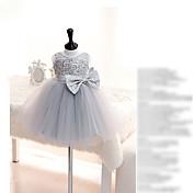 Vestido de bola corto / mini vestido de niña de flor - organza cuello joya sin mangas con encaje