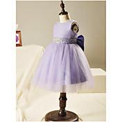 Vestido de bola corta / mini vestido de niña de flor - organza cuello joya sin mangas con cuentas