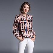 女性 カジュアル/普段着 ワーク 夏 シャツ,シンプル シャツカラー 幾何学模様 ピンク ポリエステル 長袖 薄手