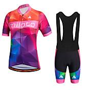 Miloto Maillot de Ciclismo con Shorts Bib Mujer Manga Corta Bicicleta Petos de deporte/Culotte con tirantes Shorts/Malla corta Camisas