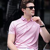 男性 カジュアル/普段着 ワーク プラスサイズ 夏 Polo,シンプル シャツカラー ストライプ ブルー ピンク グレイ コットン スパンデックス 半袖 ミディアム