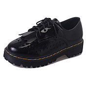 Mujer-Tacón Plano-Confort-Zapatos de taco bajo y Slip-Ons-Exterior Oficina y Trabajo Informal-PU-Blanco Negro