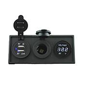 12V / 24V de potencia puerto USB charger3.1a y 12v de calibre voltímetro con el panel titular de la vivienda para rv del carro del barco