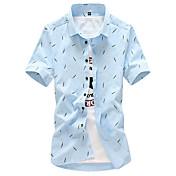 Pánské Jednobarevné Puntíky Běžné/Denní Plážové Velké velikosti Vintage Jednoduché Šik ven Košile-Léto Bavlna Polyester Košilový límec