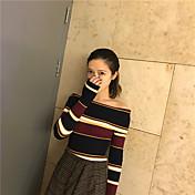 ストライプストラップレスのセーターに署名