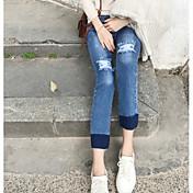 firmar la moda retro coreano pantalones vaqueros lavados colgando con