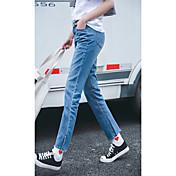 韓国の女性のジーンズのズボンは二重人格が薄い緩いカジュアルなストレートジーンズパンストたバリサイン
