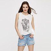 De las mujeres Sexy Casual/Diario Primavera / Verano / Otoño Camiseta,Escote Redondo Estampado Sin Mangas Blanco Fino