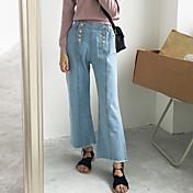 ダブルブレストワイドレッグジーンズを色の韓国の受注はデニムワイドレッグパンツを洗っ
