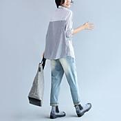 サイン文学的気質2017春新韓国の緩いステッチストライプ長袖カジュアルシャツの襟
