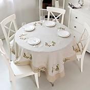 Cuadrado Redondo Bordado Forros de Mesa , Lino MaterialDecoración del banquete de boda Cena banquete de la boda Decoración de Navidad