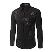 Majica Muške,Jednostavno Ležerno/za svaki dan Print-Dugih rukava Kragna košulje Pamuk