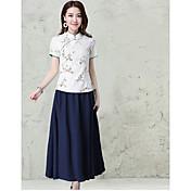 mujer&# 39; s la impresión nacional de viento de primavera 2017 de manga corta traje de pequeña delgada camisa de cuello botones de la