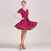 ラテンダンス 体操服 ワンピース 女性用 演出 訓練 プロミックス 1個 半袖 ナチュラルウエスト ドレス