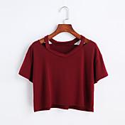 Mujer Bonito Noche Primavera Verano Camiseta,Escote Redondo Un Color Manga Corta Algodón