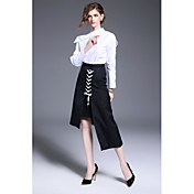 Mujer Simple Trabajo Primavera Otoño Camisa,Escote Chino Un Color Manga Larga Algodón Blanco Medio