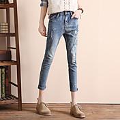 firmar la nueva versión coreana de la afluencia de las mujeres los pantalones vaqueros bordados sueltos Slim pantalones delgados del harem