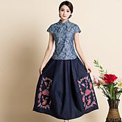 刺繍デニムハーフレングスのスカートレトロな演劇を洗浄2017新しい中国の共和修正スカート